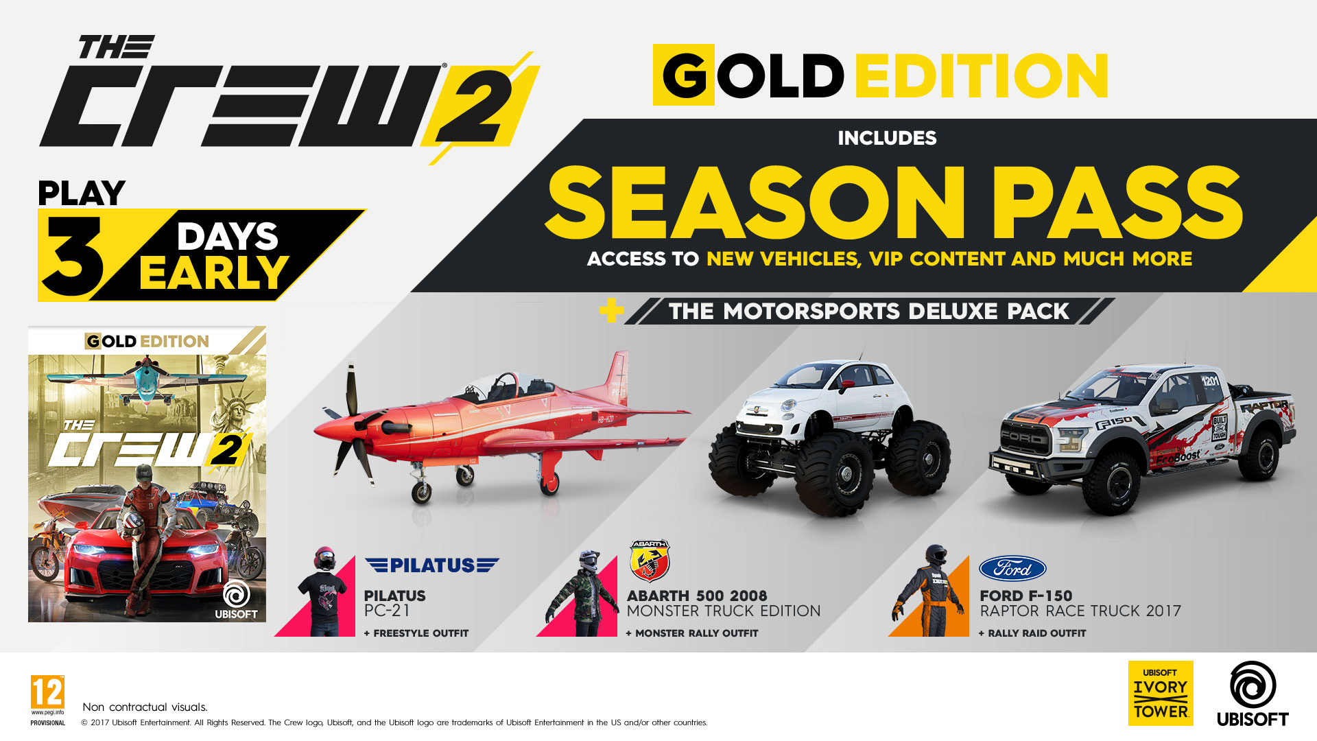 This picture shows the stuff you will get by ordering a Gold edition of The Crew 2.
